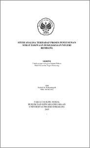 Studi Analisa Terhadap Proses Penyusunan Surat Dakwaan Di